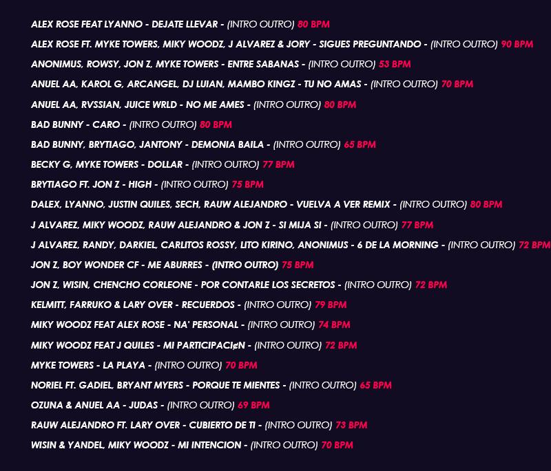 Track List Latin Trap Intro Outro 001